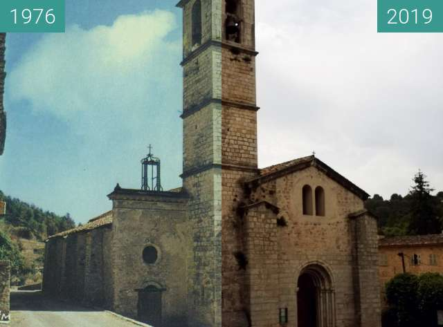 Before-and-after picture of Abbaye de Valbonne 500 ans between 1976 and 2019-Jun-10