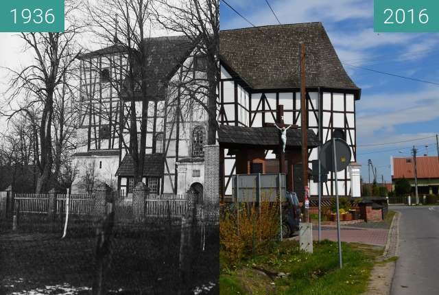 Before-and-after picture of Wierzbica Górna between 1936 and 2016-Apr-26