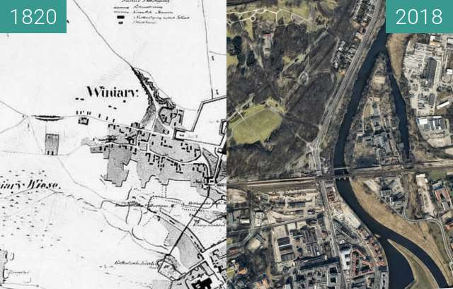 Before-and-after picture of Pozanń 1820 between 1820 and 2018-May-18