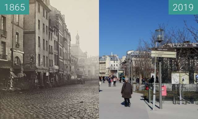 Before-and-after picture of Les Halles between 1865 and 2019-Feb-23