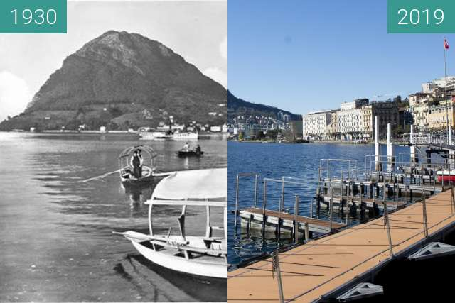 Before-and-after picture of Lago di Lugano between 1930 and 03/2019