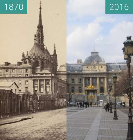 Before-and-after picture of Palais de Justice between 1870 and 2016-Feb-26