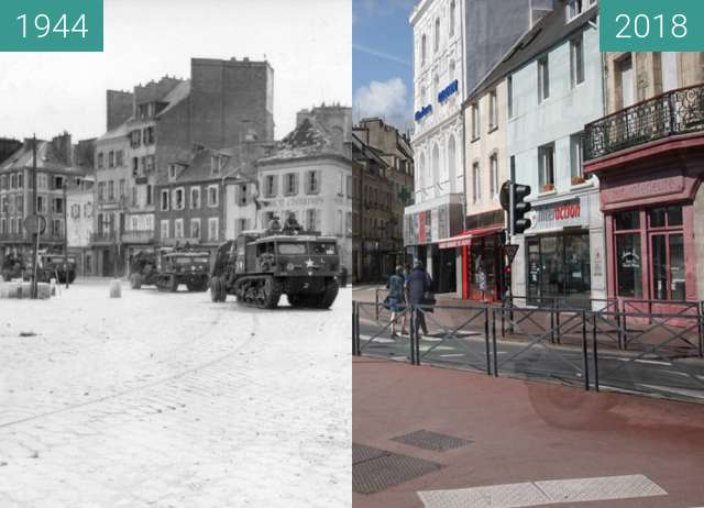 Before-and-after picture of Cherbourg 1944 - Normandy between 1944-Jun-30 and 2018-May-04