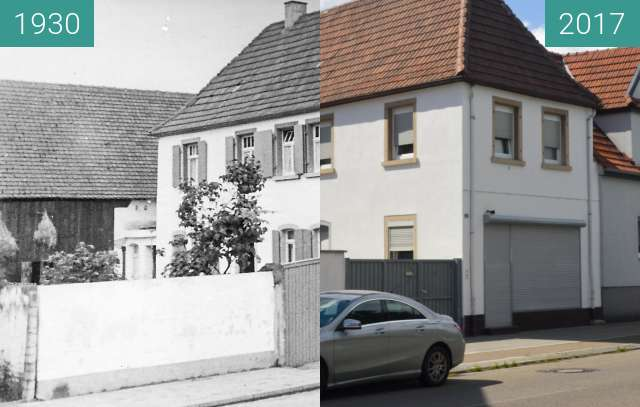 Before-and-after picture of Another house in Schifferstadt between 1930 and 2017-Aug-05