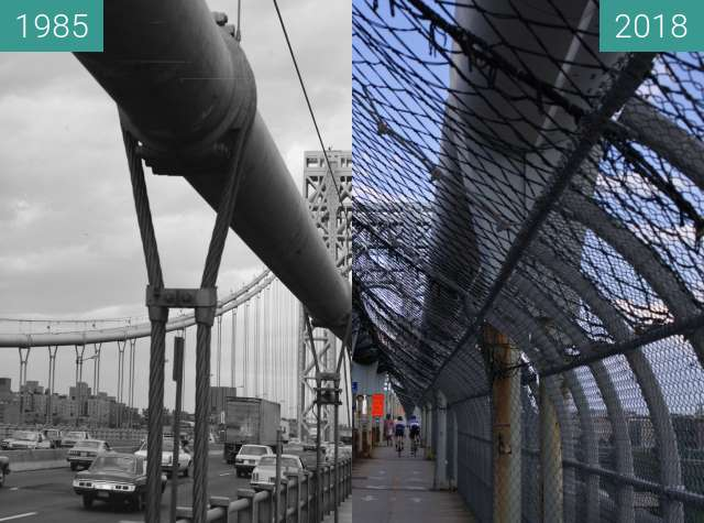 Before-and-after picture of Midpoint of George Washington Bridge between 1985 and 2018-Jul-29