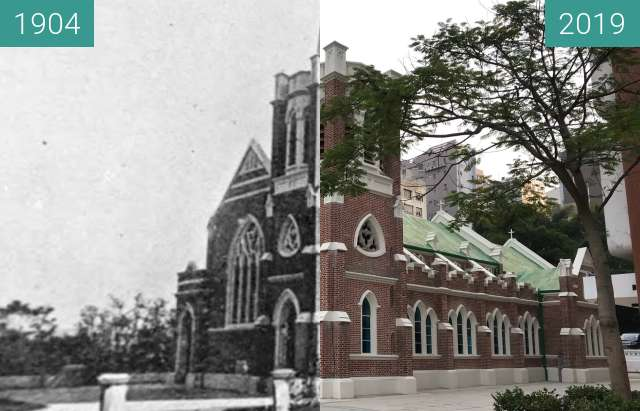 Before-and-after picture of St Andrews between 1904 and 2019-Oct-27