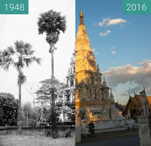 Before-and-after picture of Wat Chedi Liam between 1948 and 2016-Jan-23