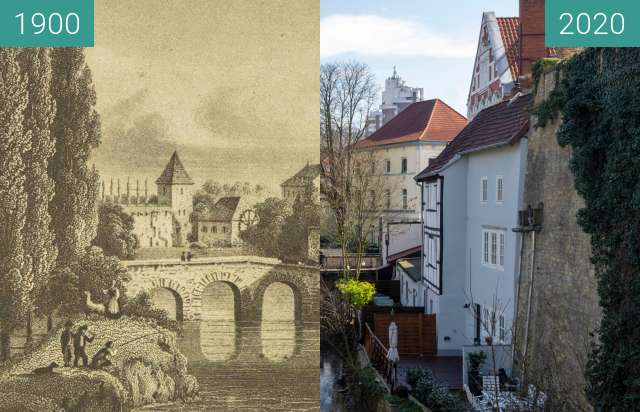 Before-and-after picture of Hasetorturm between 1900 and 03/2020