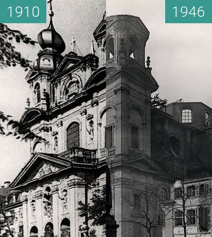 Before-and-after picture of Mannheim Cathedral between 1910 and 1946