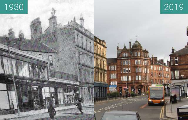 Before-and-after picture of Kilmarnock Road between 1930 and 2019-Mar-24