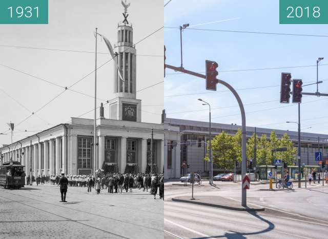 Before-and-after picture of Ulica Głogowska between 1931 and 2018