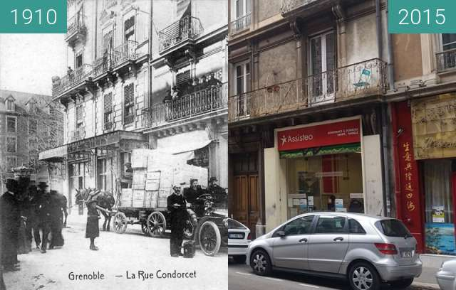Before-and-after picture of Grenoble | Rue Condorcet (1910) between 1910 and 2015