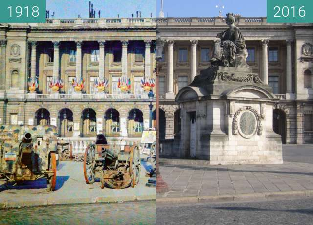 Before-and-after picture of Place de la Concorde (Hôtel de la Marine) between 1918 and 2016-Mar-13