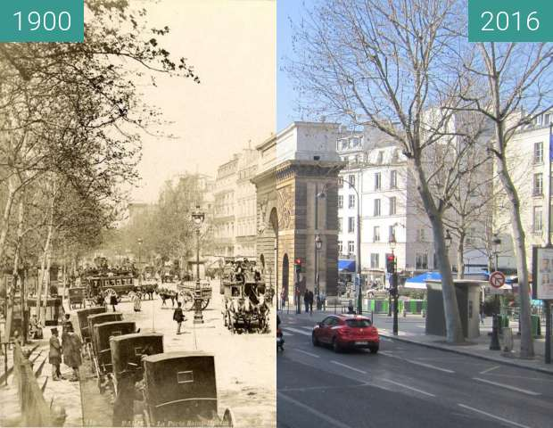 Before-and-after picture of Boulevard St. Martin between 1900 and 2016-Mar-13
