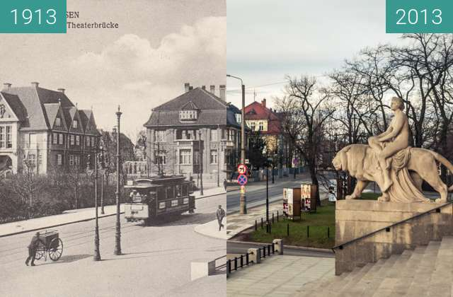 Before-and-after picture of Ulica Fredry, widok ze schodów opery between 1913 and 2013