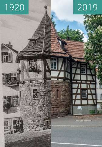 Before-and-after picture of Stuttgart - Schellentürmle between 1920 and 2019-May-12