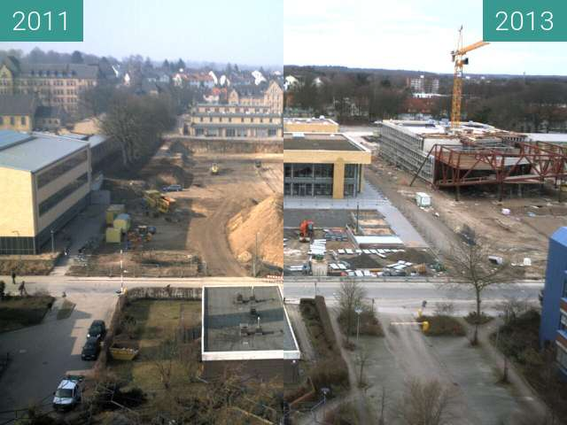 Before-and-after picture of Neubau der Mensa auf dem Westerberg between 2011-Mar-02 and 2013-Feb-03