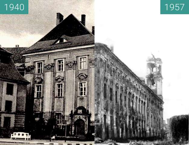 Before-and-after picture of Jesuitenkirche  between 1940 and 1957