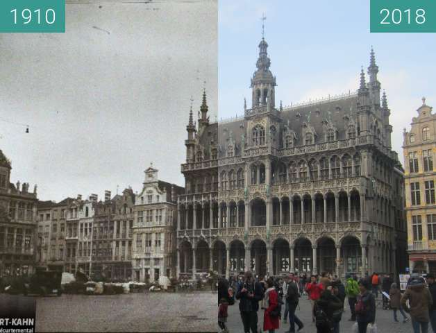 Before-and-after picture of Grand-Place/Grote Markt between 1910 and 2018-Apr-01