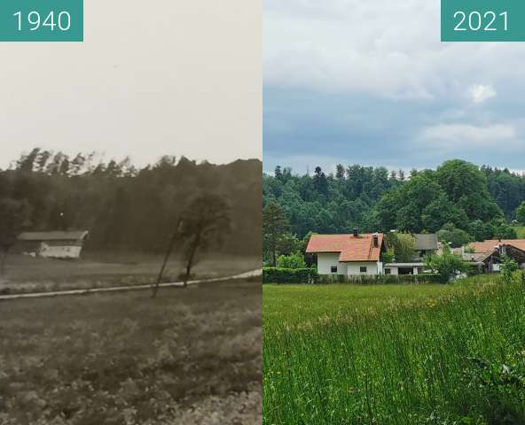 Before-and-after picture of Gamm Salzburgerstraße between 1940 and 2021-Jun-05