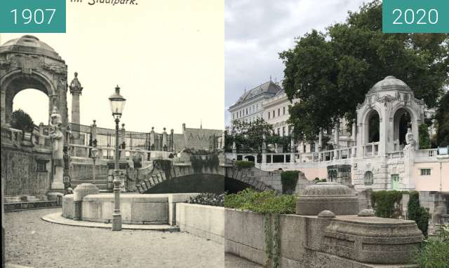 Before-and-after picture of Stadtpark Wien, Wienflussportal between 1907 and 2020-Aug-24