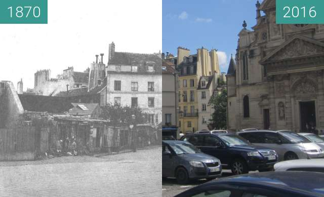 Before-and-after picture of Place Sainte-Geneviève between 1870 and 2016-Jun-22