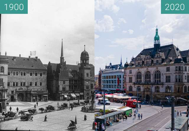 Before-and-after picture of Marktplatz , Altes Rathaus between 1900 and 2020-Jun-13