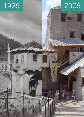Before-and-after picture of Stari most (The Old Bridge) in Mostar between 1926 and 2006-Jul-31
