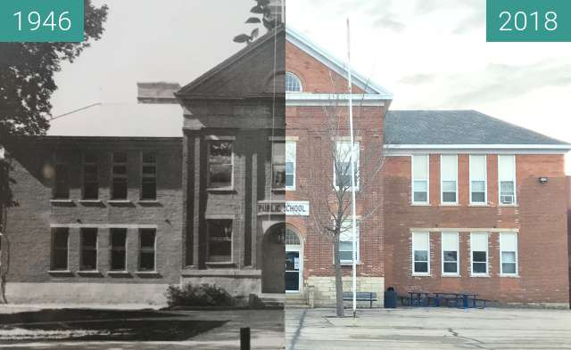 Before-and-after picture of Former Jackson County (Iowa) Courthouse between 1946 and 2018-Feb-21