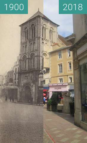 Before-and-after picture of Rue Gambetta / Église St. Porchaire between 1900 and 2018-Jul-18