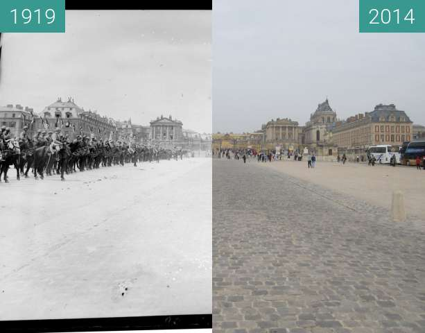 Before-and-after picture of Chateau de Versailles between 1919-Jun-28 and 2014-Sep-07