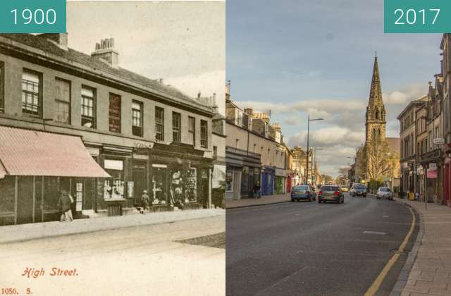 Before-and-after picture of Portobello High Street between 1900 and 2017-Apr-05