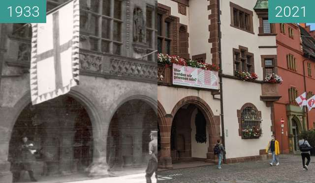 Before-and-after picture of Freiburg; Rathaus between 03/1933 and 2021-Sep-16