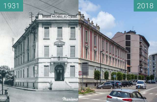 Before-and-after picture of Palazzo Esposizioni Mobili, Mariano Comense between 1931 and 2018-Jun-02