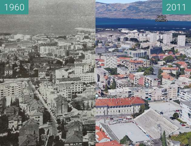 Before-and-after picture of Split from the East between 1960 and 2011