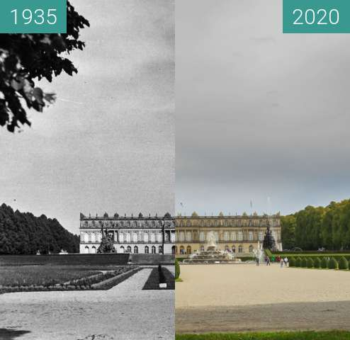 Before-and-after picture of Schloss Herrenchiemsee between 1935 and 2020-Oct-02
