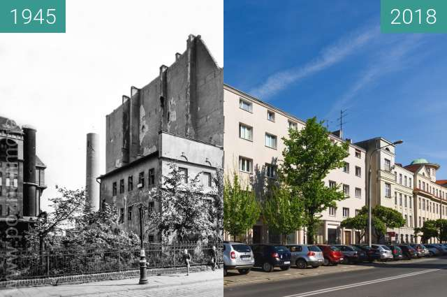 Before-and-after picture of Ulica Grobla between 1945 and 2018