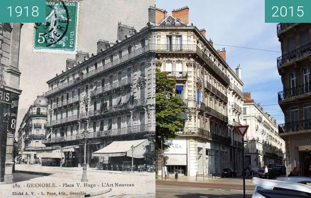 Before-and-after picture of Grenoble | L'Art Nouveau (1918) between 1918 and 2015