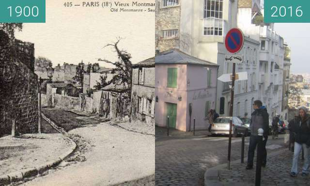 Before-and-after picture of Rue de l'Abreuvoir between 1900 and 2016-Nov-27