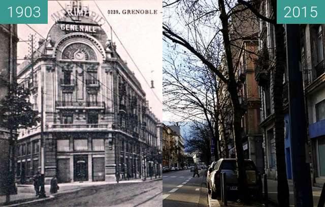 Before-and-after picture of Grenoble | Avenue de la Gare (1903) between 1903 and 2015