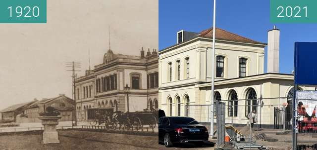 Before-and-after picture of Station Alkmaar 1920-2021 between 1920 and 2021-Mar-30