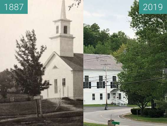 Before-and-after picture of Fitzwilliam, NH USA - Community Church between 1887 and 2019-Jun-05