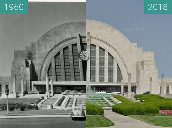 Before-and-after picture of Union Station Terminal between 1960 and 2018