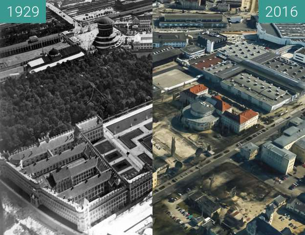 Before-and-after picture of Poznań International Fair between 1929 and 2016