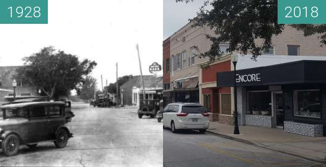 Before-and-after picture of Montrose Street, Clermont, FL between 1928 and 2018-Aug-14