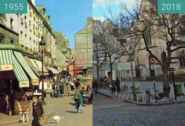Before-and-after picture of Le bas de la rue Mouffetard en avril 1955 between 04/1955 and 2018-Feb-04