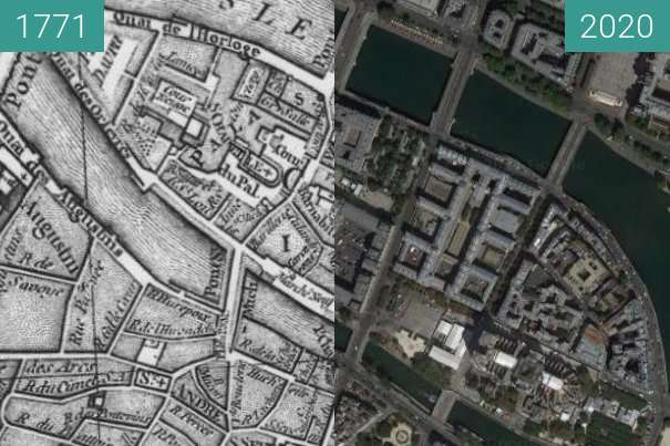Before-and-after picture of Ile de la Citè between 1771 and 2020
