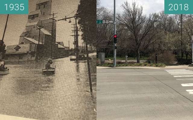 Before-and-after picture of Locust Street, North Lawrence between 06/1935 and 2018-Apr-22