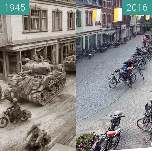 Before-and-after picture of 04.03.1945. Kevelaer, Amsterdamer Strasse between 1945-Mar-04 and 2016-May-25