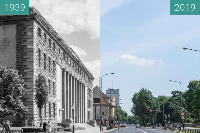 Before-and-after picture of Aleja Niepodległości between 1939 and 2019-Jun-12